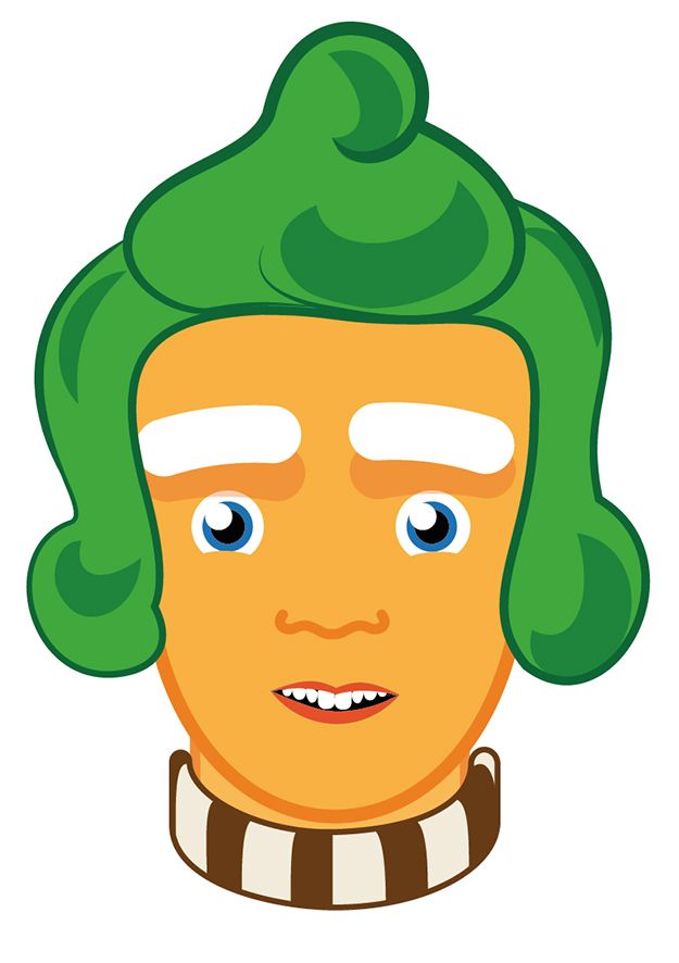 Print and cut out this free ooompa loompa mask for your for Puerta willy wonka