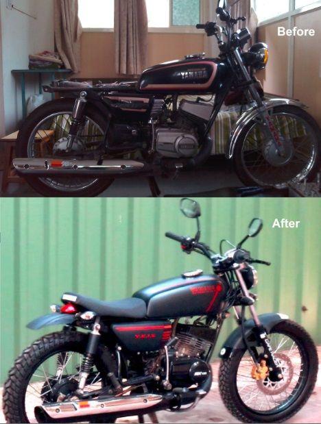 Restored Yezdi 250 And Yamaha Rx 135 At Studio 21 Design Yamaha Rx 135 Yamaha Bikes Yamaha Cafe Racer