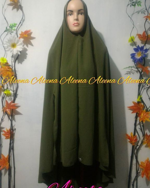Khimar Areesa Label Aleena Bahan Wolfis Warna Green Army Model