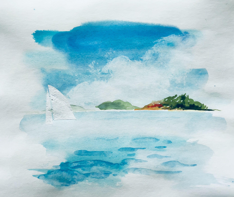 Aquarell Watercolour Malerei Meer Ocean Painting Bildformat 35 X