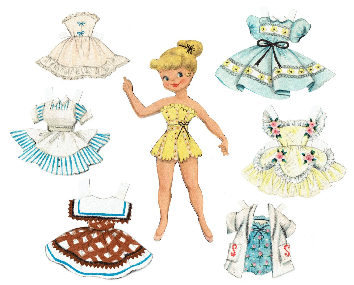 Paper Doll Printable Instant Download 1950 S Vintage Paper Paper Dolls Printable Paper Dolls Vintage Paper Dolls