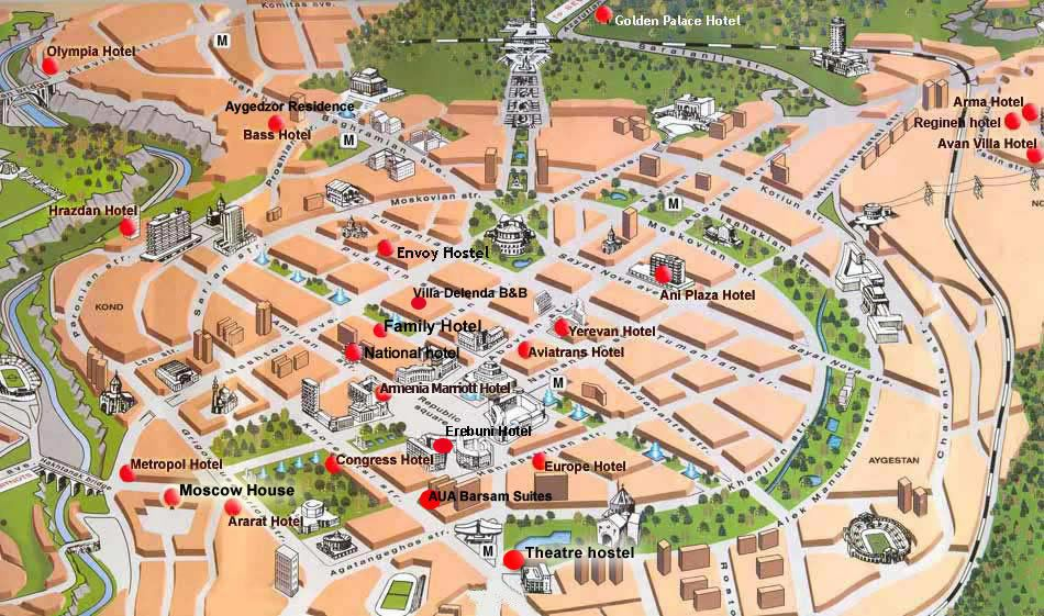 Yerevan Hotels On Yerevan Map ARMENIA Pinterest Armenia - yerevan map
