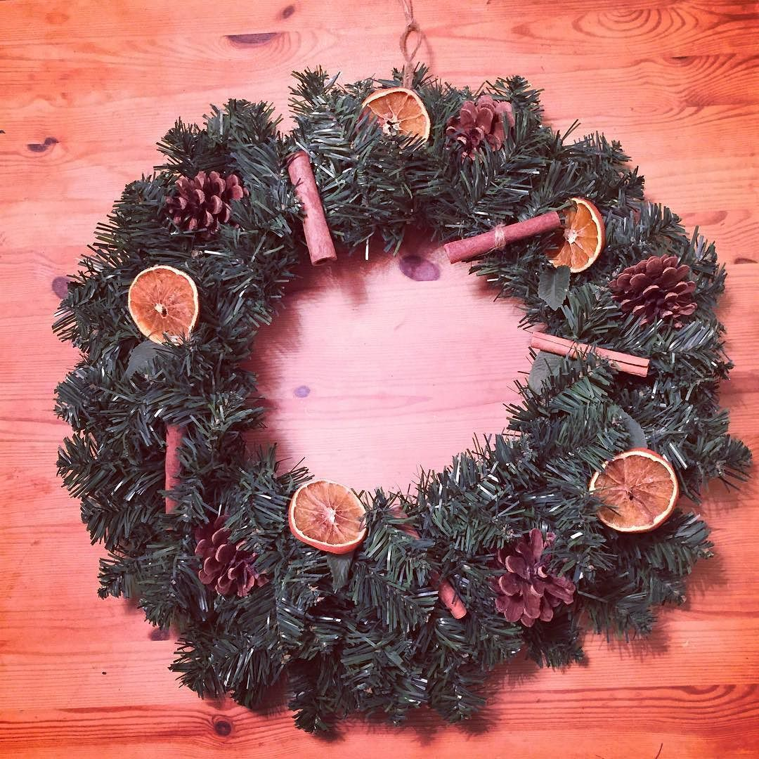 A wee bit of #christmas #crafting this afternoon homemade dried orange slices cinnamon sticks and pine cones.