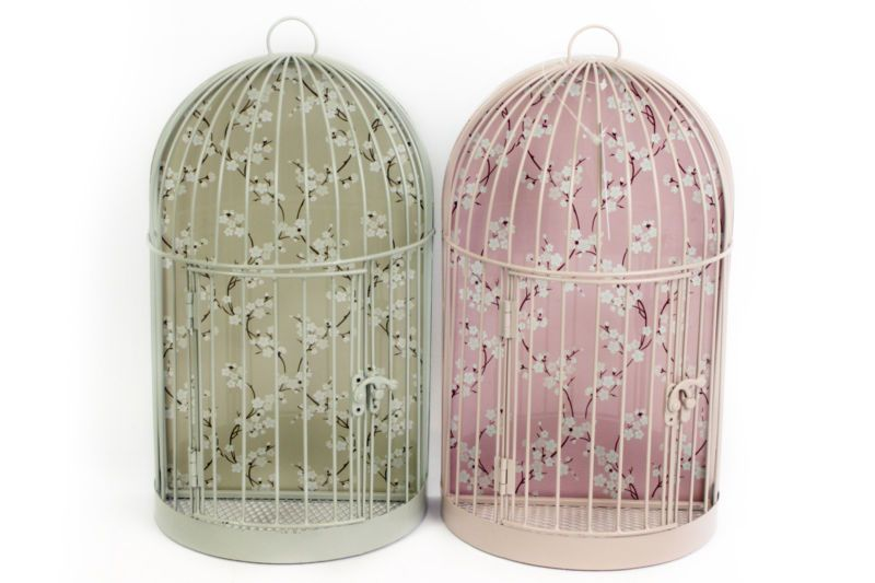 SHABBY CHIC VINTAGE FLORAL BIRD CAGE WALL DECORATION PLANTERS - BRAND NEW