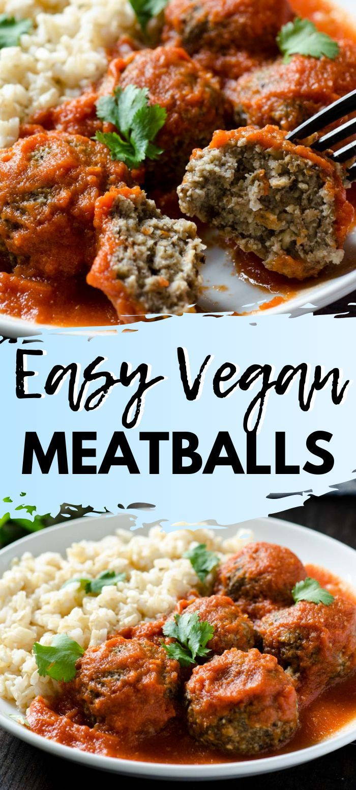 Easy Vegan Meatballs made with a mix of tofu and mushrooms, onion, garlic and seasonings, and bathed in a spicy chipotle tomato sauce.