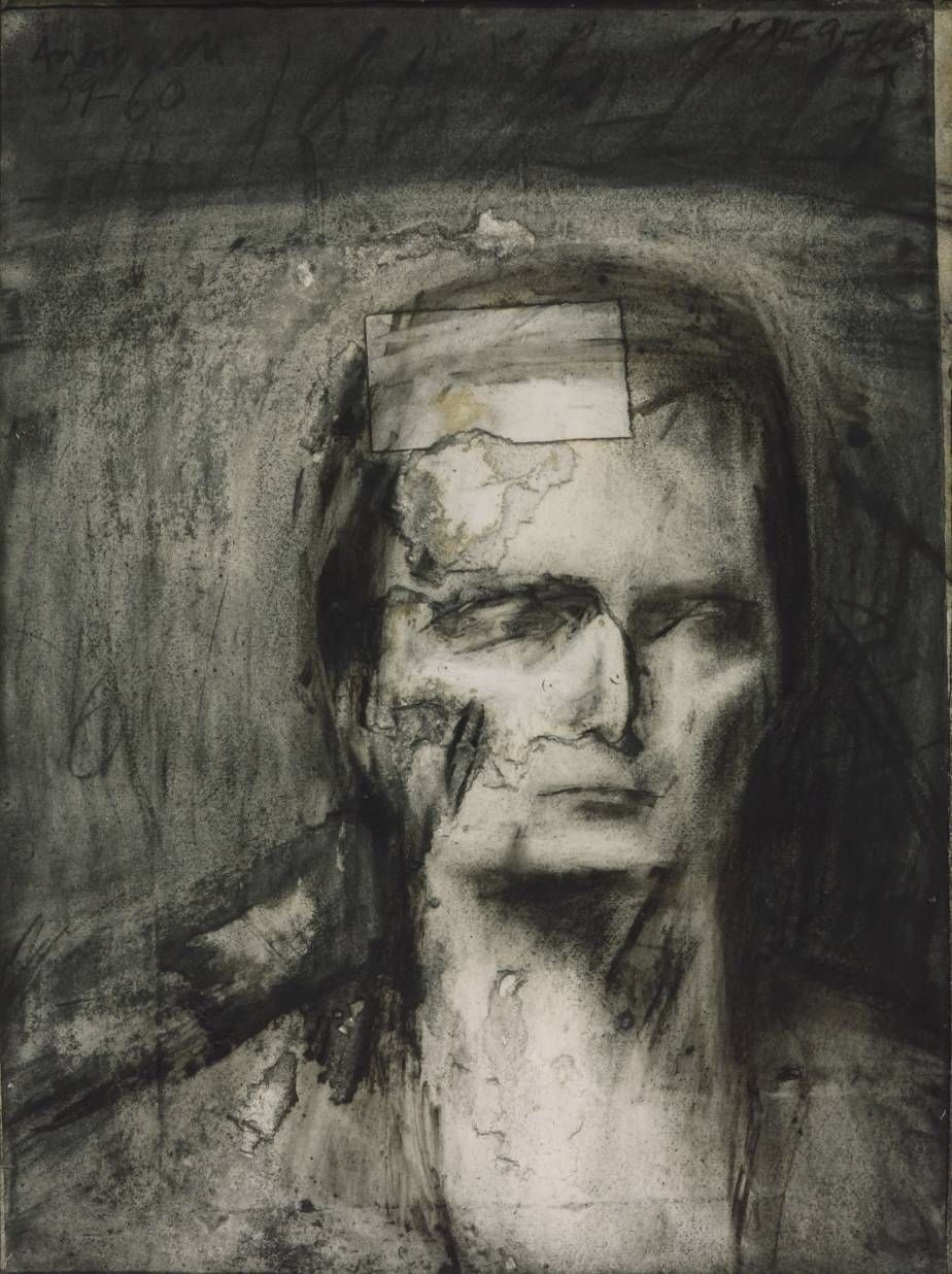 "Artwork details Artist Frank Auerbach (born 1931) Title Head of E.O.W. Date 1959-60 Medium Charcoal, paper and watercolour on paper ""The final image is therefore built upon numerous previous attempts. In this way the portrait is saturated with the artist's accumulated experience of the model. As a result of this long process the paper became torn and abraded and necessitated the patch visible in the drawing."""