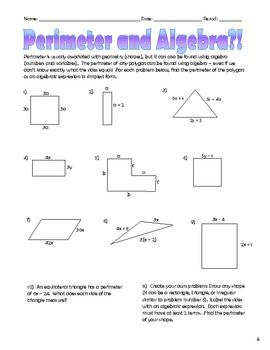 Perimeter and Algebra: Finding Perimeter by Combining Like Terms ...