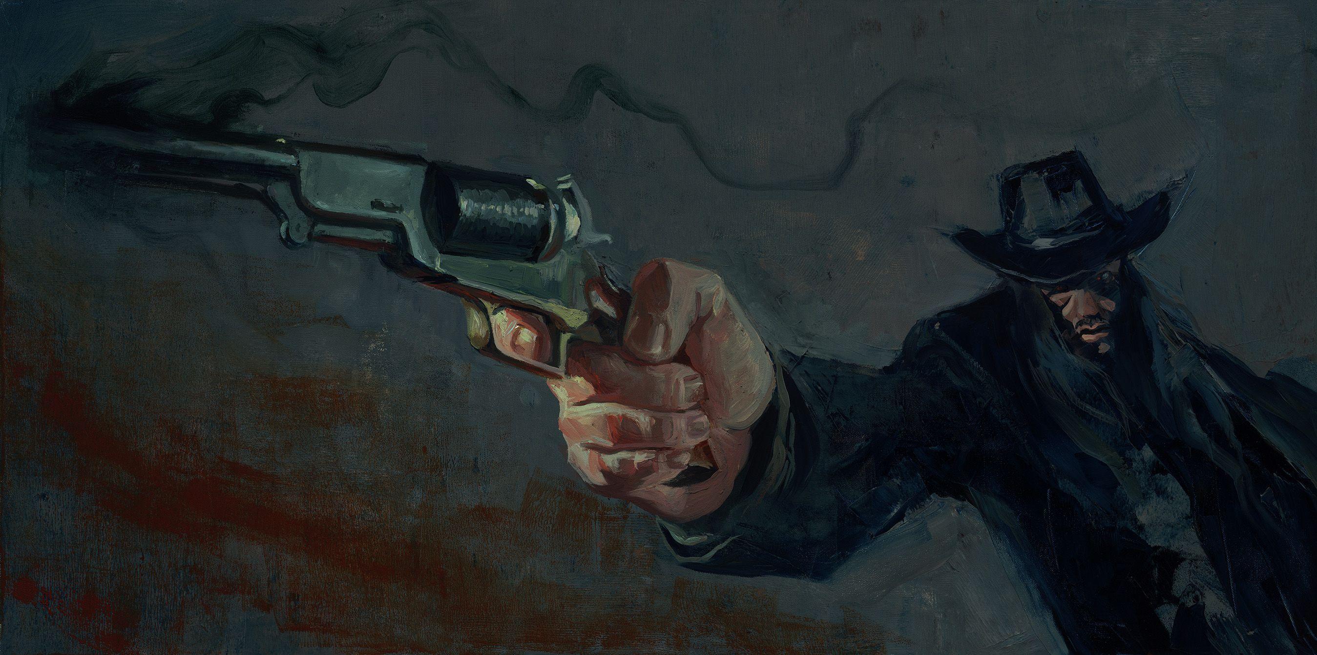 Gabe Leonard - The desperados http://kentuckymonamour.blogspot.it/2015/03/illustrators-illustrations-gabe-leonard.html #art #artist #western #westernart #painting #shootouts #GabeLeonard #TheDesperados