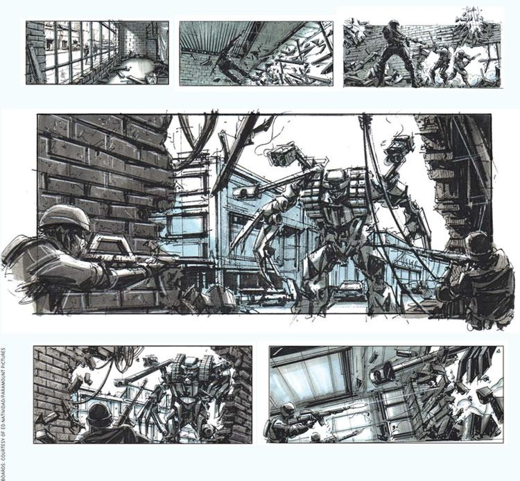 Storyboards by Ed Natividad for Michael Bay's Transformers | Storyboard examples, Storyboard, Storyboard artist