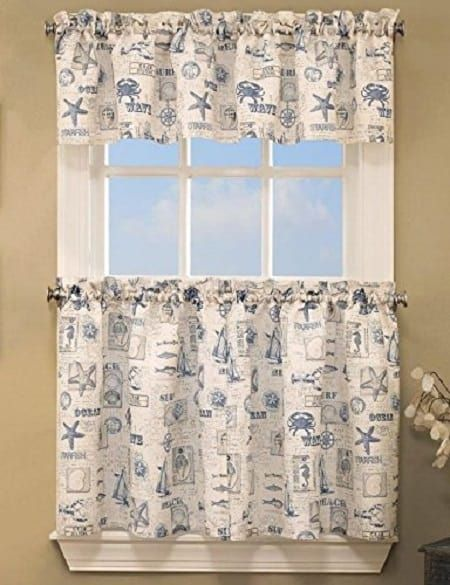 Coastal Kitchen Curtains Blue Coastal By The Sea Tier Pair Review Kitchen Curtains Valance Curtains Beach Kitchens