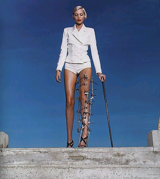 Scandalous high heel theme photo spread from 90's Vogue. Nadja Auerman modeling…