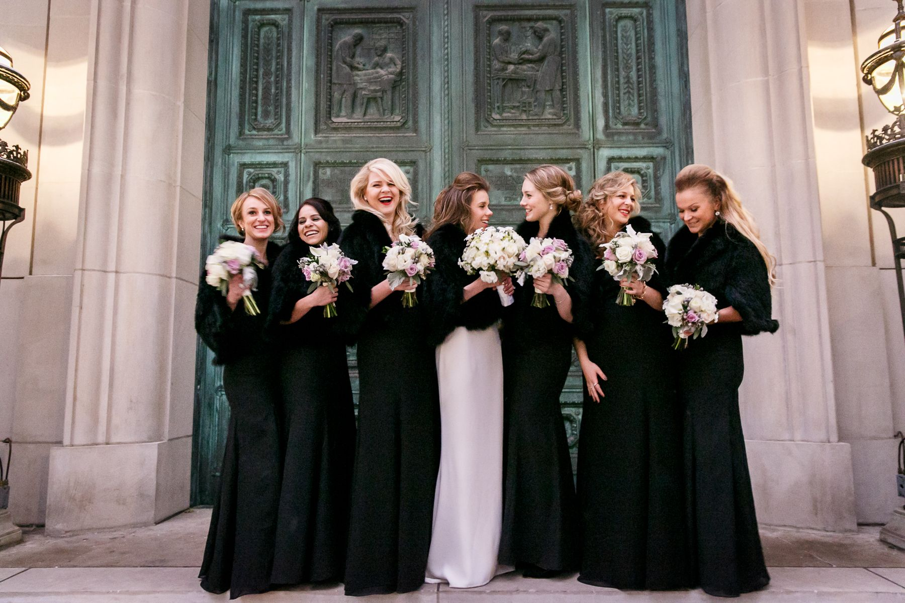 Black bridesmaid dresses with fur wraps one dayry soon black bridesmaid dresses with fur wraps ombrellifo Image collections