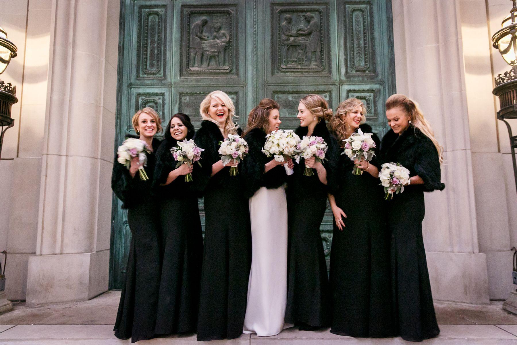 Black Bridesmaid Dresses with Fur Wraps Black bridesmaid