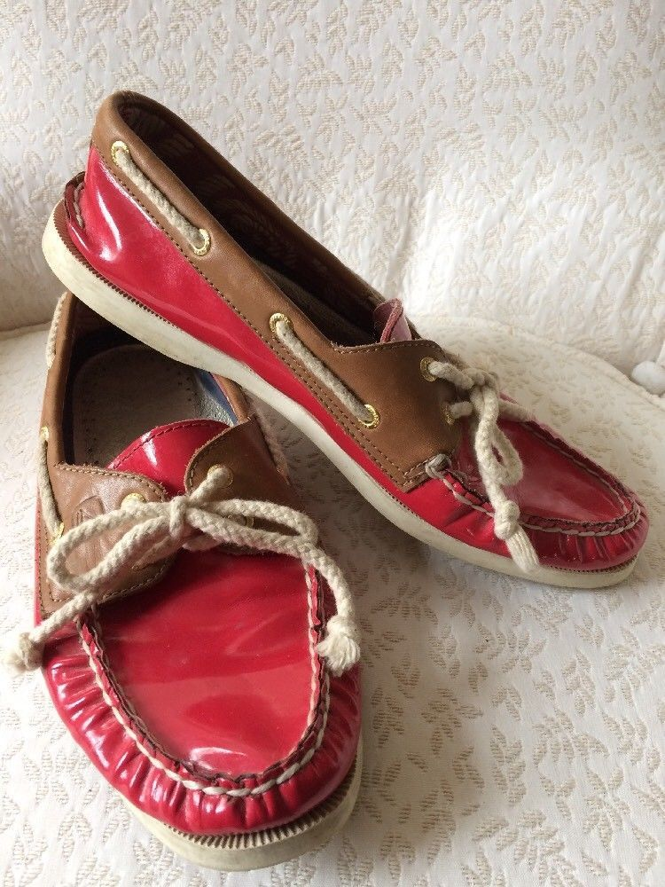 0d6e057db0 Sperry 9 M Top Sider Tan Leather Red Patent Slip On Boat Shoes Laces Rope   fashion  clothing  shoes  accessories  womensshoes  flats (ebay link)