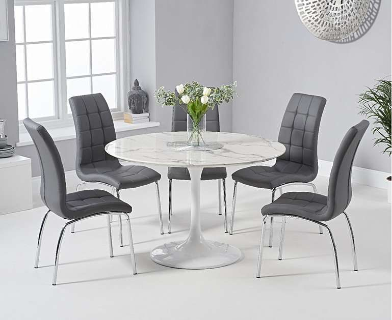 Brighton 120cm Round White Marble Dining Table With Calgary Dining Chairs Dining Table Marble Oak Dining Furniture