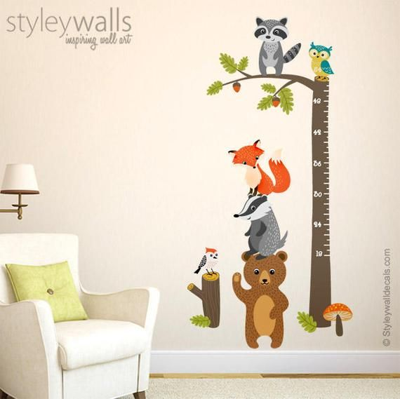 Woodland Animals Growth Chart Wall Decal, Forest Animals Growth Chart Sticker, Woodland Critters Nursery Wall Decor, Owl Bear Fox Raccoon
