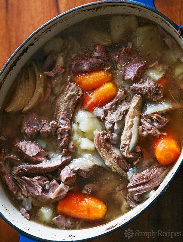 Irish Lamb Stew with Bacon ~ Irish lamb stew recipe made with lamb shoulder chops, bacon, potatoes, turnip, carrots, onion and barley.  Slow cooked until fork tender. ~ SimplyRecipes.com