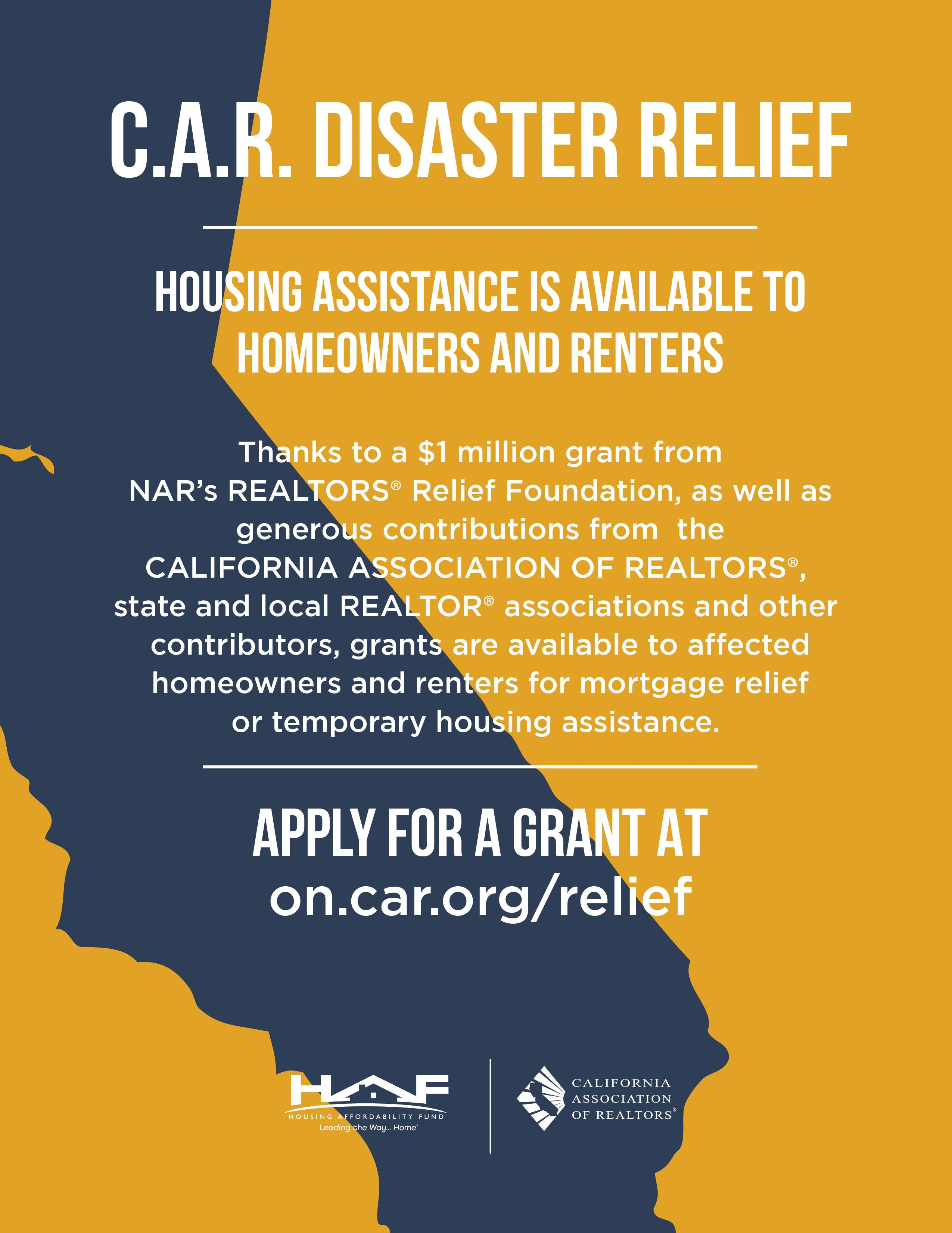 Ca Housing Grants Available For People Displaced By Fir Disaster Relief Relief Disasters
