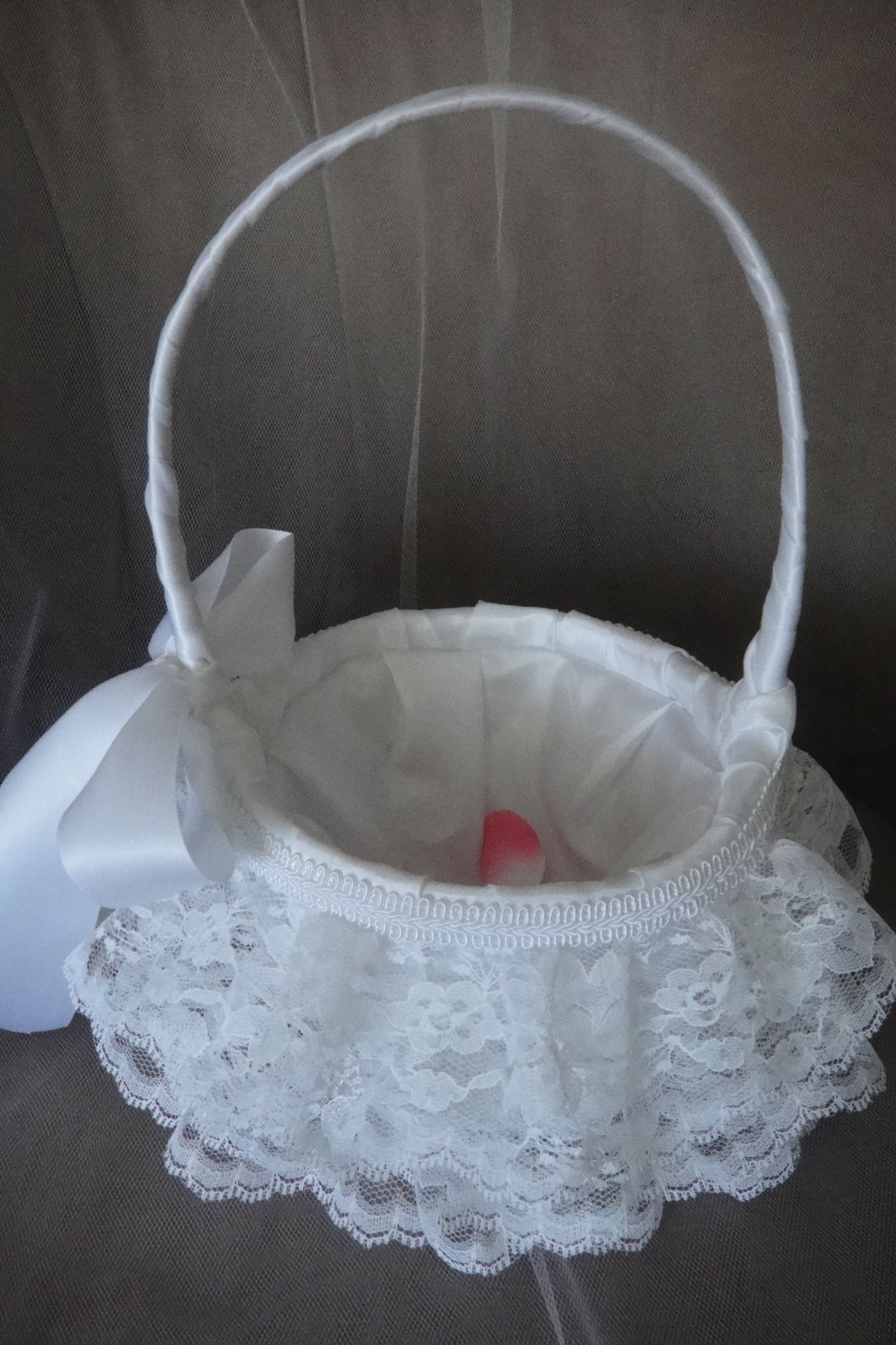 Adorable lace flower girl basket 3 layers of lace with