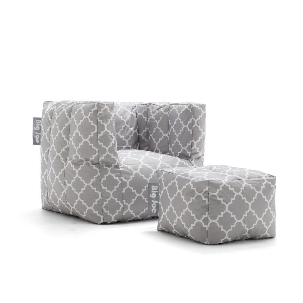 Amazing Big Joe Cube Chair With Ottoman Gray Quatrafoil Smartmax Evergreenethics Interior Chair Design Evergreenethicsorg