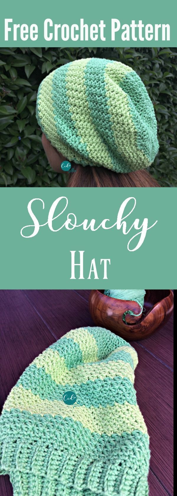 Striped Slouchy Hat Free Crochet Pattern | Gorros, Patrones libres ...