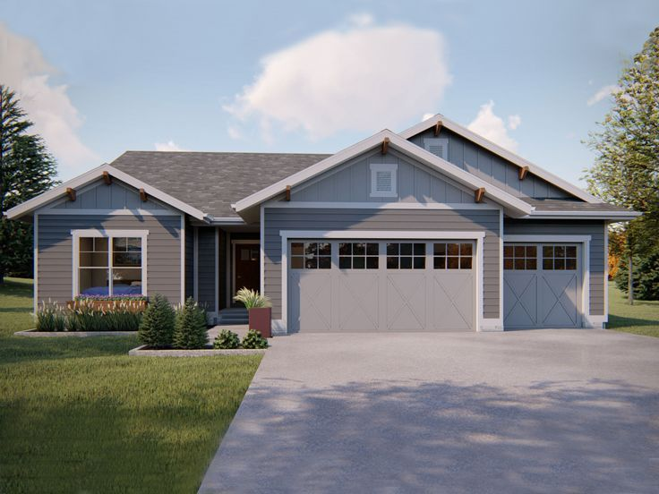 050H-0178: Small Ranch House Plan with Over-Sized Garage; 1617 sf