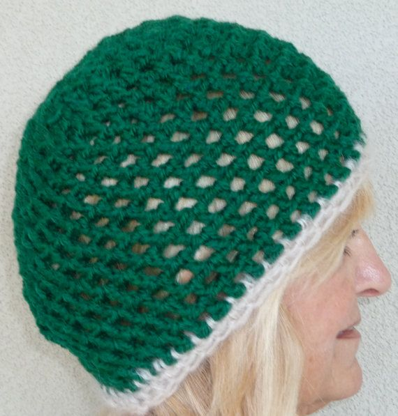 Women Crochet Hat Green White Crochet by hatsbyanne1942 on Etsy