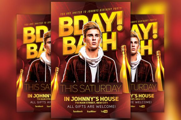 bday bash party flyer template creativework247 templates