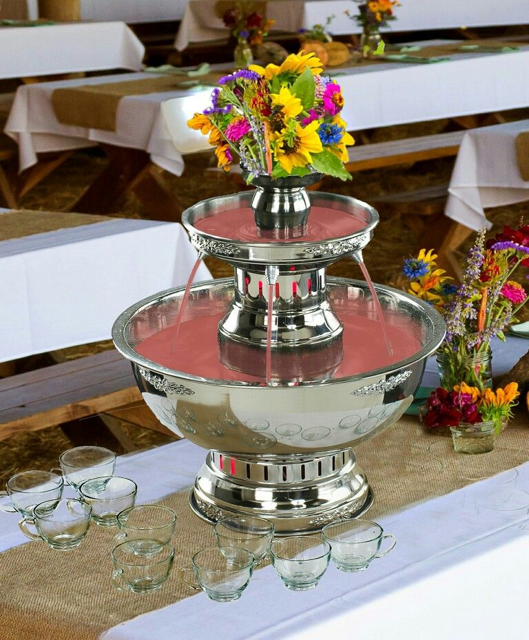 Wedding Punch Ideas: Champagne / Punch Fountain With Burlap Tablescape. Mini