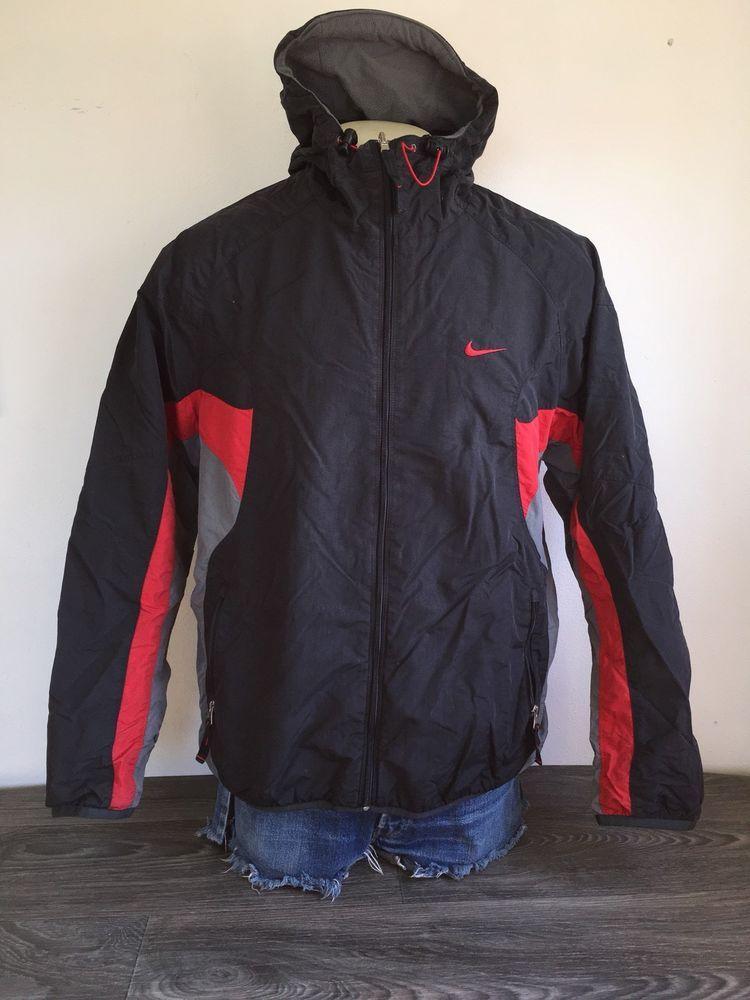 ac07fcbf4f09 NIKE AIR Jacket 90s Vtg Hooded Fleece Lined Black Red Full Zip Coat Men L  EUC!  Nike  Parka