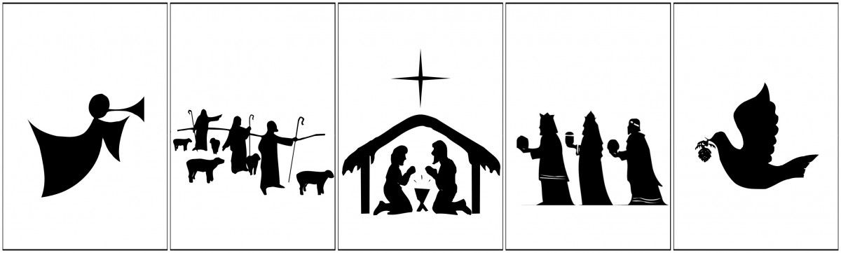photograph regarding Nativity Silhouette Printable titled No cost Printable Nativity Banner Seasonal-icious Xmas