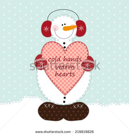 Cute snowman with big heart as retro fabric applique in shabby chic style ideal for very merry christmas - stock vector