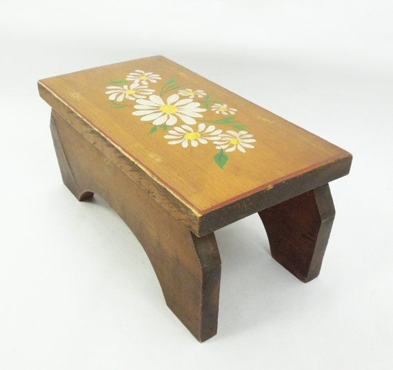 Vintage wooden footstool with painted white daisy flowers by indiecreativ, $24.00