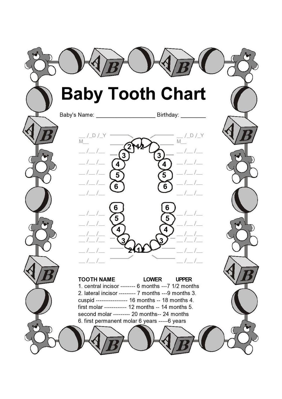 Teeth Coloring Pages Baby Tooth Charts Printable Teeth Free Order
