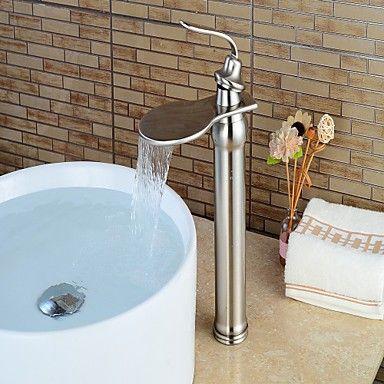 Mittellage Einhand Ein Loch in Gebürsteter Nickel Waschbecken Wasserhahn