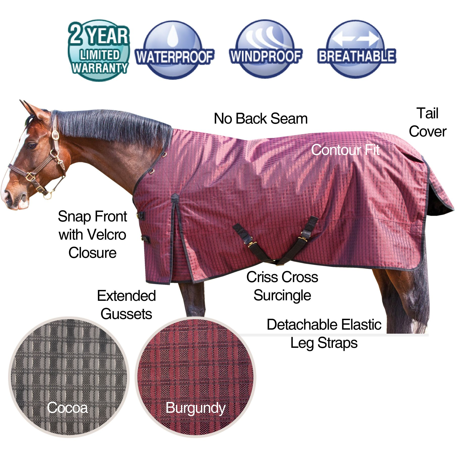 We love our StormShield® 1200D DOUBLE RIPSTOP Turnouts! This is one of newest designs for 2012! The 1200D polyester outer cover is textured to produce an elegant, extra tough double ripstop blanket that will last for years! Traditional Euro fit-no back seam. Blanket features include: contour fit, snap front with Velcro closure assist, extended gussets, criss cross surcingle, detachable elastic leg strap and a tail cover. Your choice of heavyweight and midweight. Neck cover available.