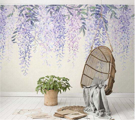 Purple Wisteria Wallpaper Purple Vines Art Watercolor Lavender Flower Wall Mural Lilac Ivory Floral Large Print Wall Decor Mural Wall Painting Mural Wallpaper