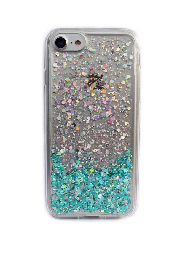 6032bf835 Teal Green & Silver Ombre Holographic Glitter Phone Case, iPhone 7 Case /  iPhone 8 Case / Custom iPh
