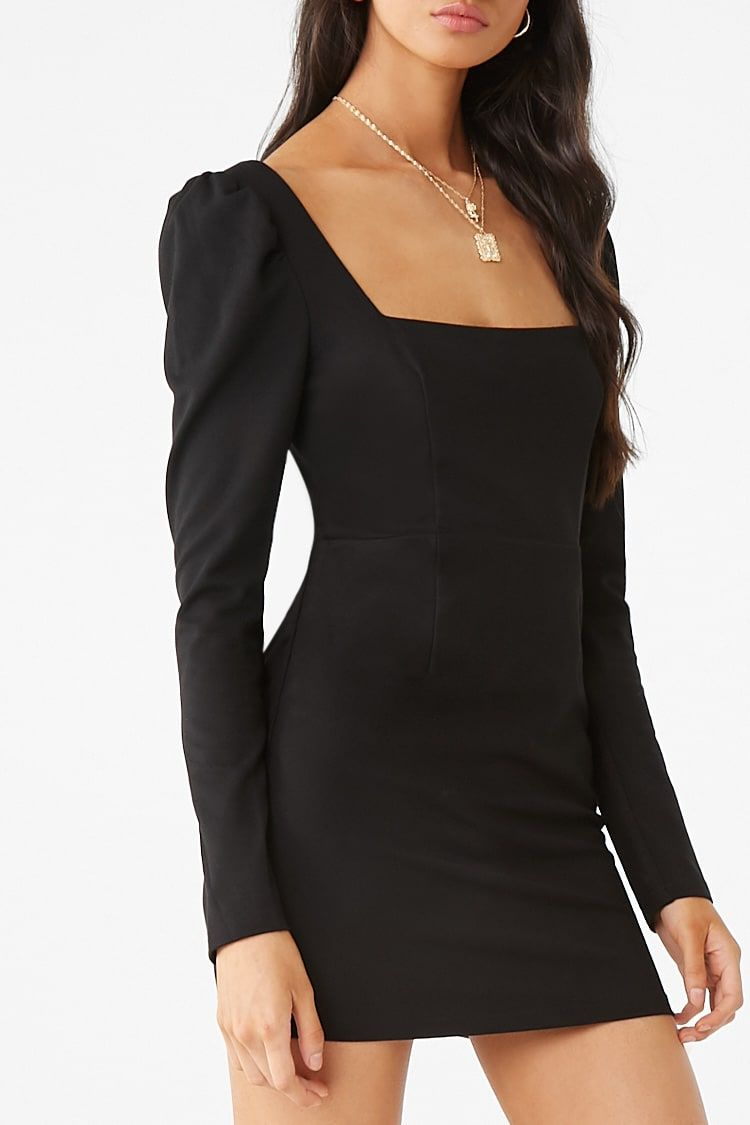 Puff Sleeve Square Neck Bodycon Dress Forever 21 Puff Sleeve Dresses Bodycon Dress Long Sleeve Bodycon Dress [ 1125 x 750 Pixel ]
