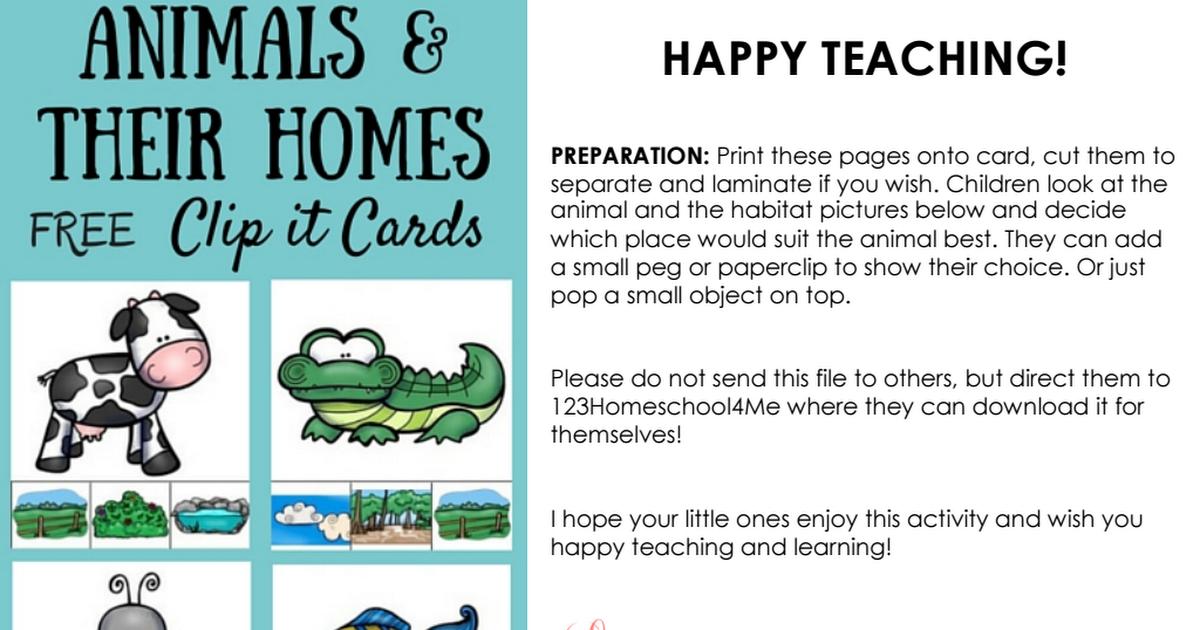 Animal_Homes_Clip_It_Cards.pdf Teachers toolbox