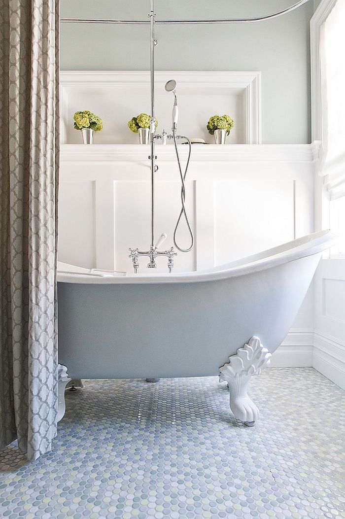 20 Inspirations That Bring Home The Beauty Of Penny Tiles Top 10 Bathrooms Bathroom Trends Clawfoot Tub Bathroom