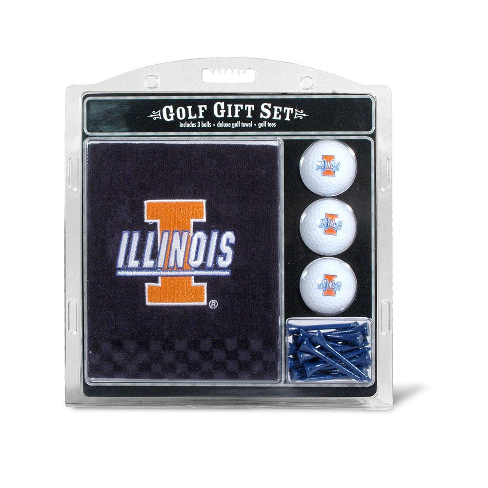 Illinois Fighting Illini NCAA Embroidered Towel/3 Ball/12 Tee Set