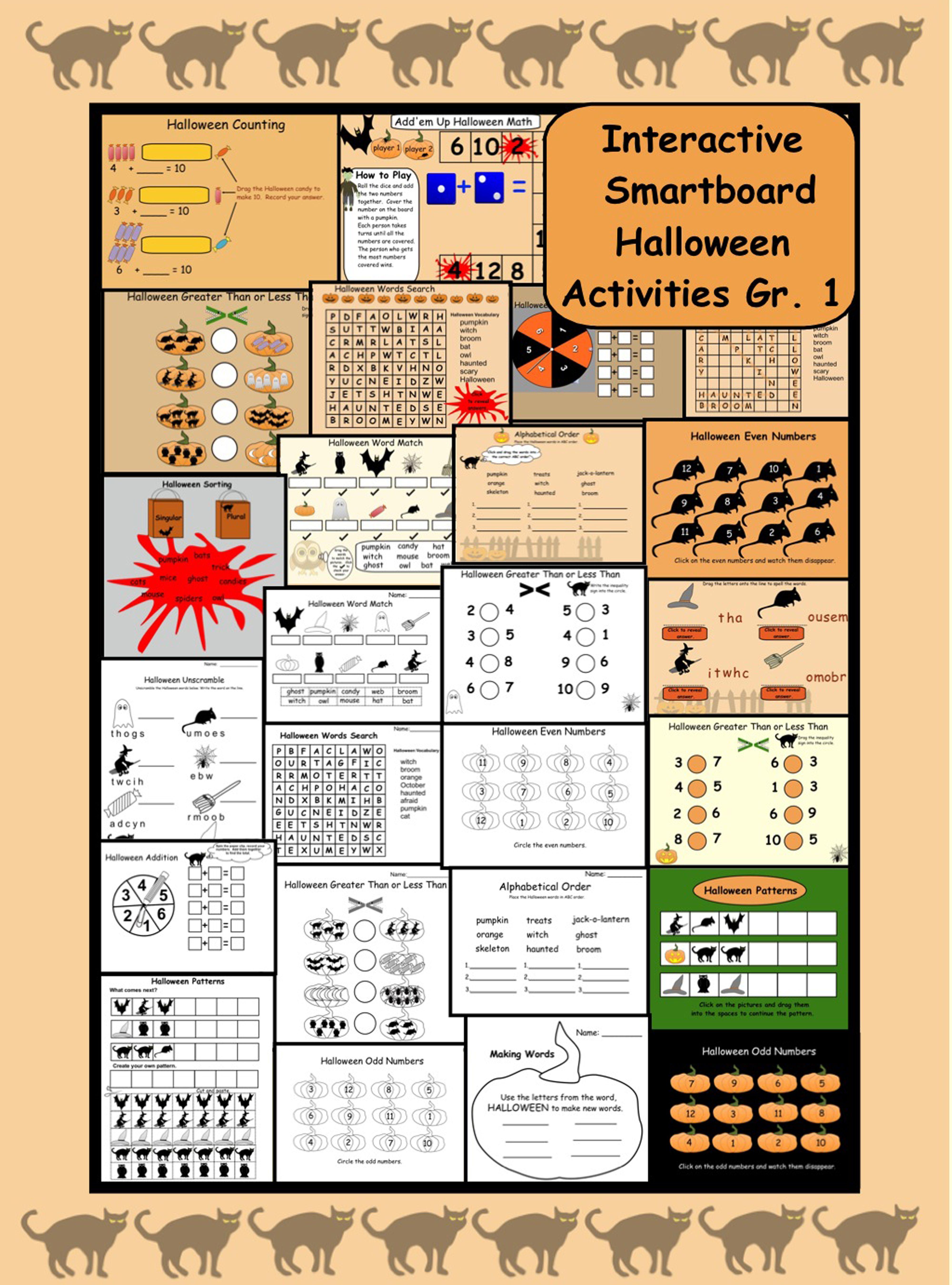 Interactive Smartboard Halloween Math and Language Gr  1