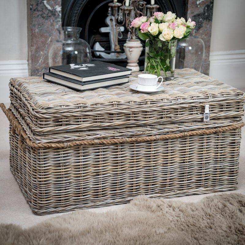 Macclesfield rattan storage trunk wood cocktail table