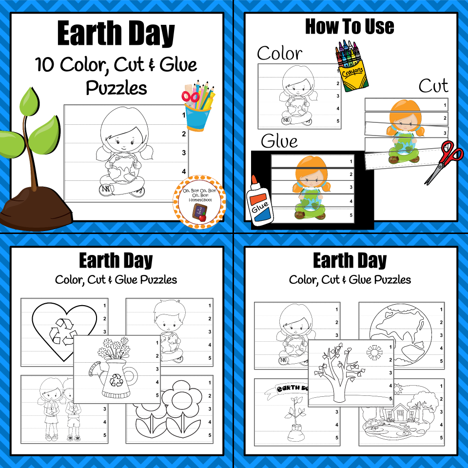 Earth Day Color Cut and Glue Puzzles Construction paper Earth