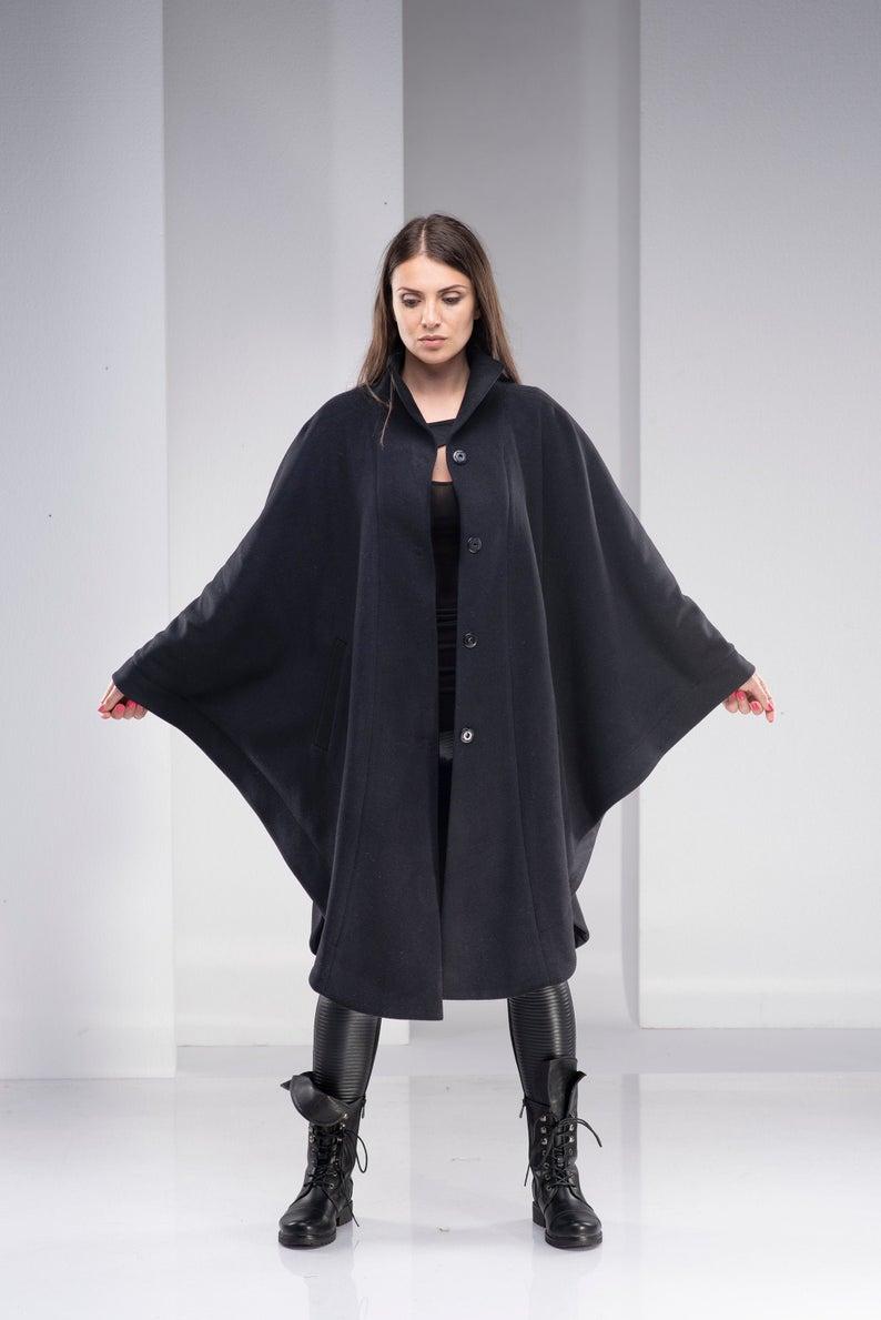 Black Cape Coat Black Cloak Coat Wool Poncho Cape Plus Size Etsy Black Cape Coat Cape Coat Women Cape Coat