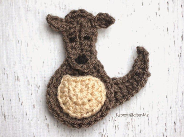 K is for Kangaroo: Crochet Kangaroo Applique | Känguru ...