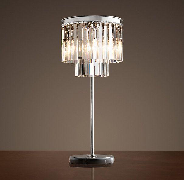 1920s Odeon Clear Glass Fringe Table Lamp Polished Nickel Broken Glass Art Beach Glass Art Tiffany Glass Art