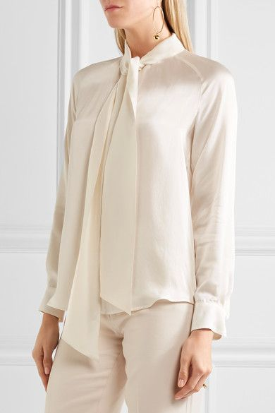 f10178b672c4bb White silk-satin Concealed button-fastening keyhole at front 100% silk Dry  clean Made in Italy