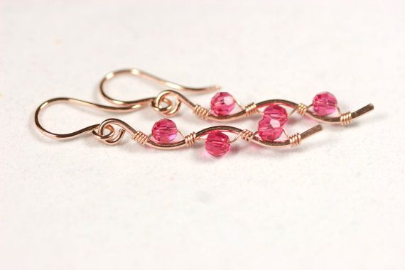 Rose Gold Pink Swarovski Crystal Earrings by JessicaLuuJewelry, $40.00